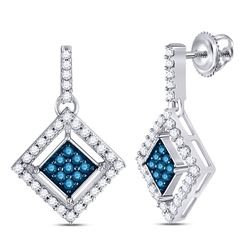Round Blue Color Enhanced Diamond Diagonal Square Dangle Earrings 1/2 Cttw 10kt White Gold