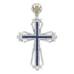 Mens Round Blue & Yellow Color Enhanced Diamond Cross Charm Pendant 1-1/2 Cttw 10kt White Gold