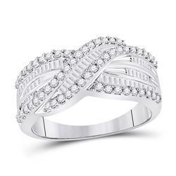 Diamond Crossover Band Ring 3/4 Cttw 14kt White Gold