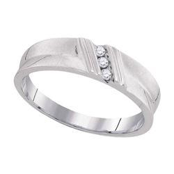 Mens Diamond Wedding Band Ring 1/20 Cttw 10kt White Gold