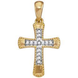 Diamond Small Flared Cross Pendant 1/10 Cttw 10kt Yellow Gold
