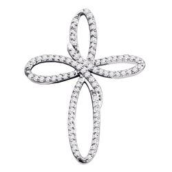 Diamond Cross Religious Open-center Pendant 1/4 Cttw 10k White Gold
