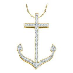 Diamond Anchor Nautical Pendant 1/6 Cttw 10k Yellow Gold