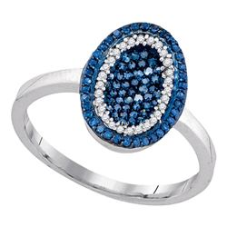 Round Blue Color Enhanced Diamond Oval Ring 1/3 Cttw 10kt White Gold