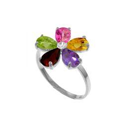 Genuine 2.22 ctw Pink Topaz, Citrine & Amethyst & Diamond Ring 14KT White Gold - REF-35Z9N