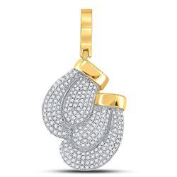 Mens Diamond Boxing Gloves Charm Pendant 7/8 Cttw 10kt Yellow Gold