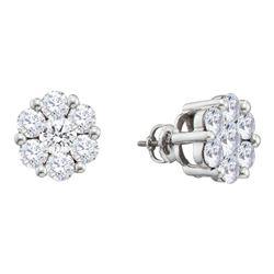 Diamond Flower Cluster Earrings 2.00 Cttw 14kt White Gold