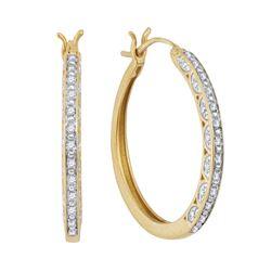 Diamond Hoop Earrings 1/6 Cttw 10kt Yellow Gold