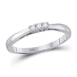 Diamond 3-stone Bridal Wedding Engagement Ring 1/20 Cttw 10kt White Gold