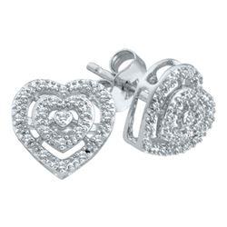 Diamond Heart Cluster Screwback Earrings 1/12 Cttw 10kt White Gold