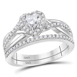 Heart Diamond Bridal Wedding Engagement Ring Band Set 7/8 Cttw 14kt White Gold