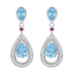 Oval Lab-Created Blue Topaz Diamond Dangle Earrings 1-5/8 Cttw 10kt White Gold
