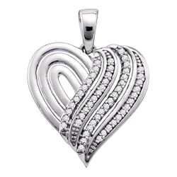Diamond Striped Heart Pendant 1/6 Cttw 10kt White Gold