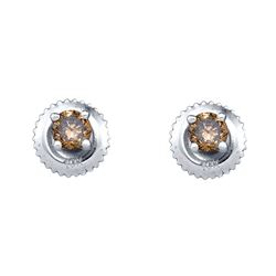 Round Brown Diamond Solitaire Stud Earrings 1/4 Cttw 10kt White Gold