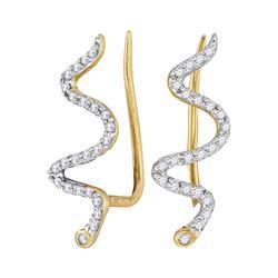 Diamond Snake Climber Earrings 1/6 Cttw 10kt Yellow Gold