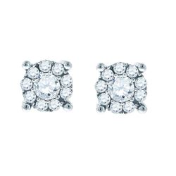 Diamond Framed Solitaire Stud Earrings 1.00 Cttw 14kt White Gold