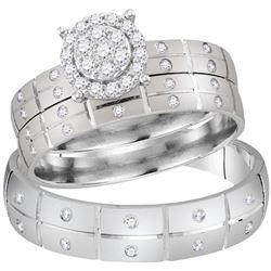 His & Hers Diamond Cluster Matching Bridal Wedding Ring Band Set 1/3 Cttw 14kt White Gold