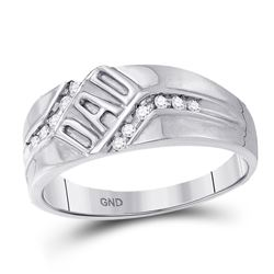 Mens Diamond Dad Father Band Ring 1/8 Cttw 10kt White Gold