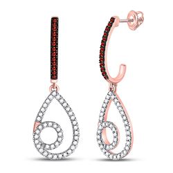 Round Red Color Enhanced Diamond Teardrop Dangle Earrings 1/4 Cttw 10kt Rose Gold
