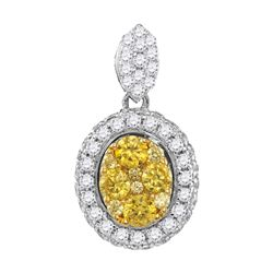 Round Canary Yellow Diamond Oval Cluster Pendant 1.00 Cttw 14kt White Gold