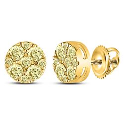 Round Yellow Diamond Cluster Earrings 1/2 Cttw 14kt Yellow Gold
