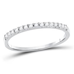 Diamond Slender Stackable Wedding Band 1/6 Cttw 14kt White Gold