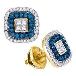 Round Blue Color Enhanced Diamond Square Frame Cluster Earrings 1/2 Cttw 10kt Yellow Gold