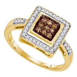 Round Brown Diamond Square Frame Cluster Ring 1/4 Cttw 10kt Yellow Gold
