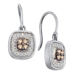 Round Brown Diamond Square Cluster Dangle Earrings 1/3 Cttw 14kt White Gold