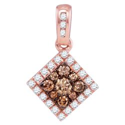 Round Brown Diamond Diagonal Square Frame Pendant 1/3 Cttw 10kt Rose Gold