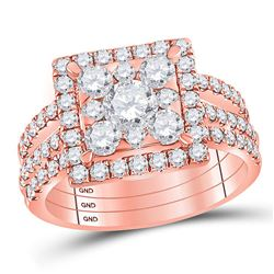Diamond Square 3-Piece Bridal Wedding Engagement Ring Band Set 2.00 Cttw 14kt Rose Gold
