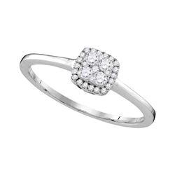 Diamond Halo Cluster Bridal Wedding Engagement Ring 1/5 Cttw 10kt White Gold