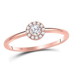 Diamond Halo Solitaire Promise Bridal Ring 1/5 Cttw 10kt Rose Gold