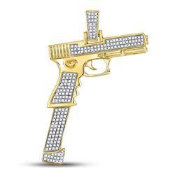 Mens Diamond Handgun Pistol Charm Pendant 5/8 Cttw 10kt Yellow Gold