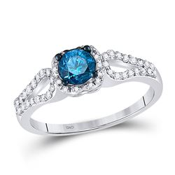 Round Blue Color Enhanced Diamond Solitaire Bridal Wedding Engagement Ring 3/4 Cttw 10kt White Gold