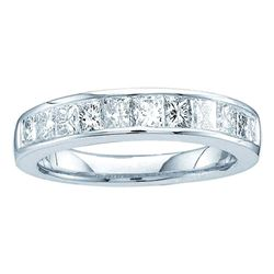 Channel-set Diamond Single Row Wedding Band 1/2 Cttw  14kt White Gold