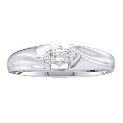 Diamond 3-stone Promise Bridal Ring 1/10 Cttw 10kt White Gold