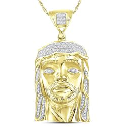 Mens Diamond Jesus Face Christ Messiah Charm Pendant 1/4 Cttw 10kt Yellow Gold