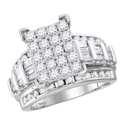Diamond Cindys Dream Cluster Bridal Wedding Engagement Ring 4.00 Cttw 14kt White Gold