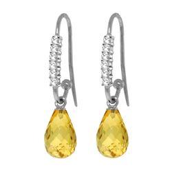 Genuine 4.68 ctw Citrine & Diamond Earrings 14KT White Gold - REF-40M7T