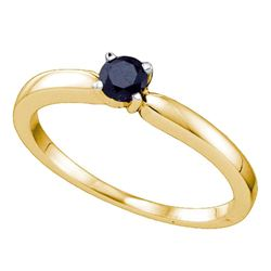 Round Black Color Enhanced Diamond Solitaire Bridal Wedding Engagement Ring 1/4 Cttw 10kt Yellow Gol
