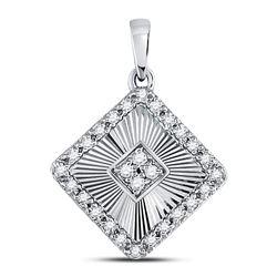 Diamond Diagonal Square Pendant 1/6 Cttw 10kt White Gold