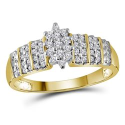 Round Prong-set Diamond Oval Cluster Ring 1/4 Cttw 10kt Yellow Gold