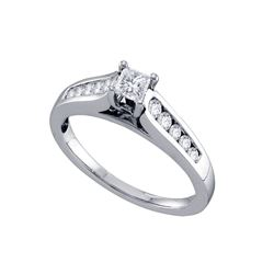 Diamond Solitaire Bridal Wedding Engagement Ring 1/2 Cttw 14k White Gold