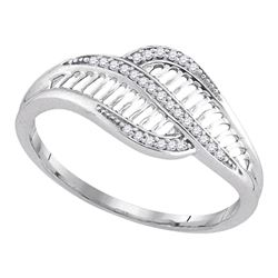 Diamond Bypass Fashion Band Ring 1/12 Cttw 10kt White Gold