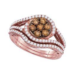 Round Brown Diamond Bridal Wedding Engagement Ring Band Set 1.00 Cttw 10kt Rose Gold