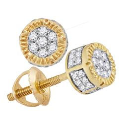 Mens Diamond 3D Circle Cluster Stud Earrings 1/4 Cttw 10kt Yellow Gold