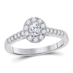 Oval Diamond Solitaire Bridal Wedding Engagement Ring 1/5 Cttw 14kt White Gold