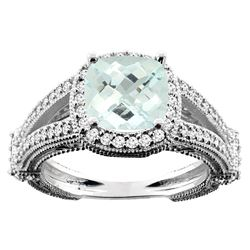 4.10 CTW Aquamarine & Diamond Ring 10K White Gold - REF-55A5X