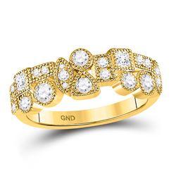 Diamond Modern Gemometric Band Ring 5/8 Cttw 10kt Yellow Gold